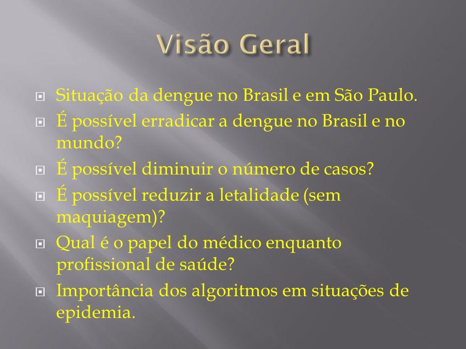 Visão Geral Situação da dengue no Brasil e em São Paulo.