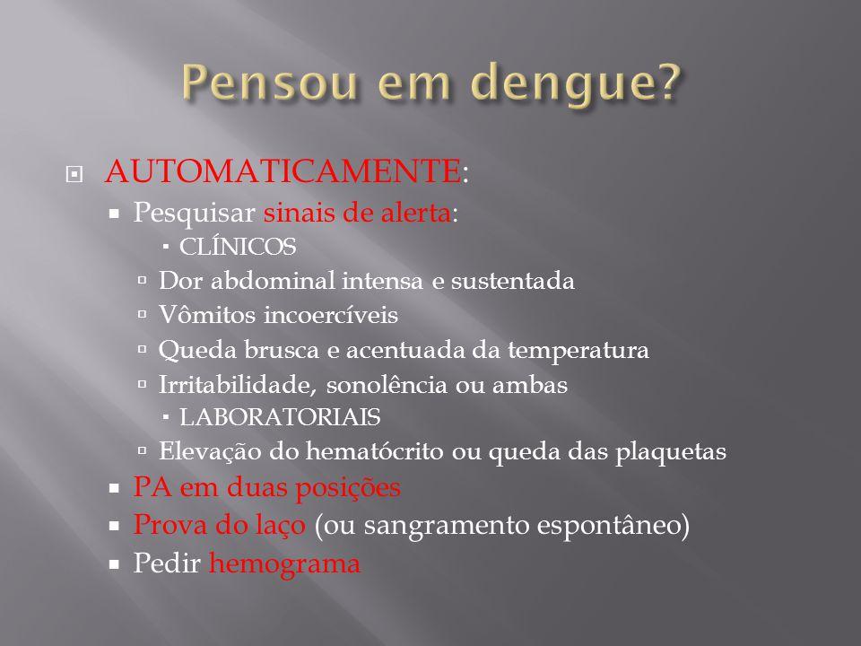 Pensou em dengue AUTOMATICAMENTE: Pesquisar sinais de alerta: