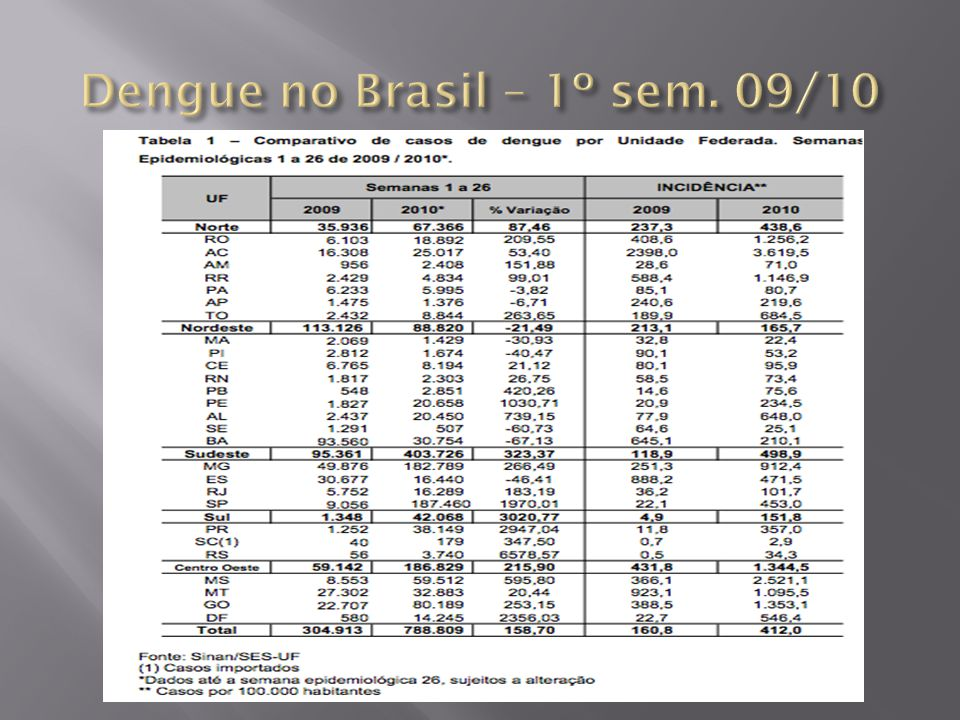 Dengue no Brasil – 1º sem. 09/10