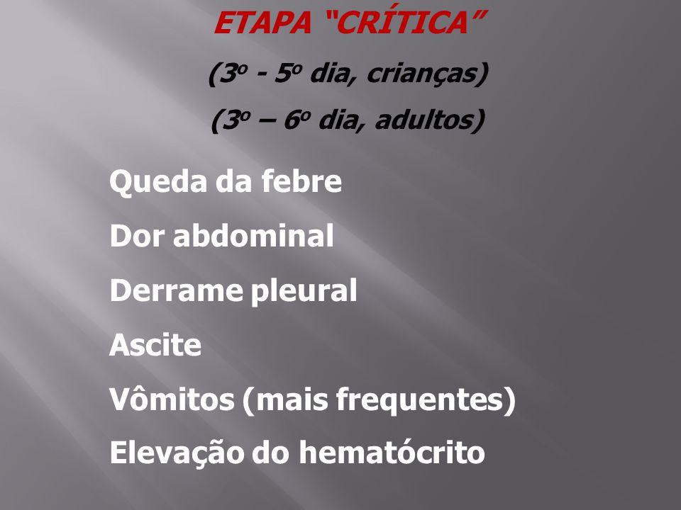 Vômitos (mais frequentes) Elevação do hematócrito