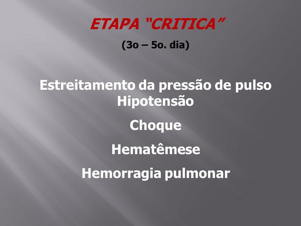Estreitamento da pressão de pulso Hipotensão