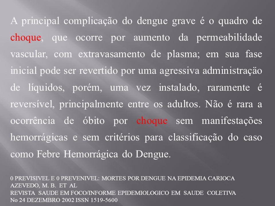 A principal complicação do dengue grave é o quadro de choque, que ocorre por aumento da permeabilidade vascular, com extravasamento de plasma; em sua fase inicial pode ser revertido por uma agressiva administraçäo de líquidos, porém, uma vez instalado, raramente é reversível, principalmente entre os adultos. Não é rara a ocorrência de óbito por choque sem manifestações hemorrágicas e sem critérios para classificação do caso como Febre Hemorrágica do Dengue.