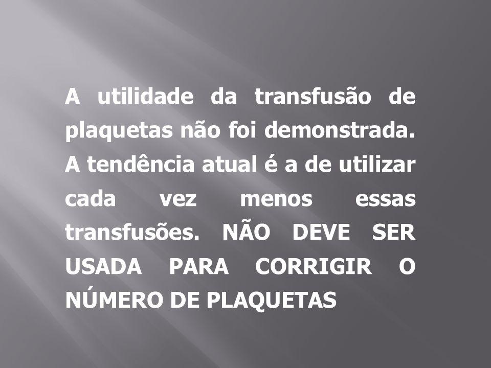 A utilidade da transfusão de plaquetas não foi demonstrada