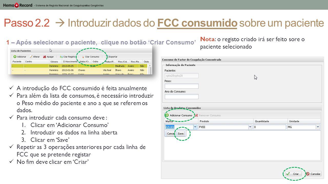 Passo 2.2  Introduzir dados do FCC consumido sobre um paciente