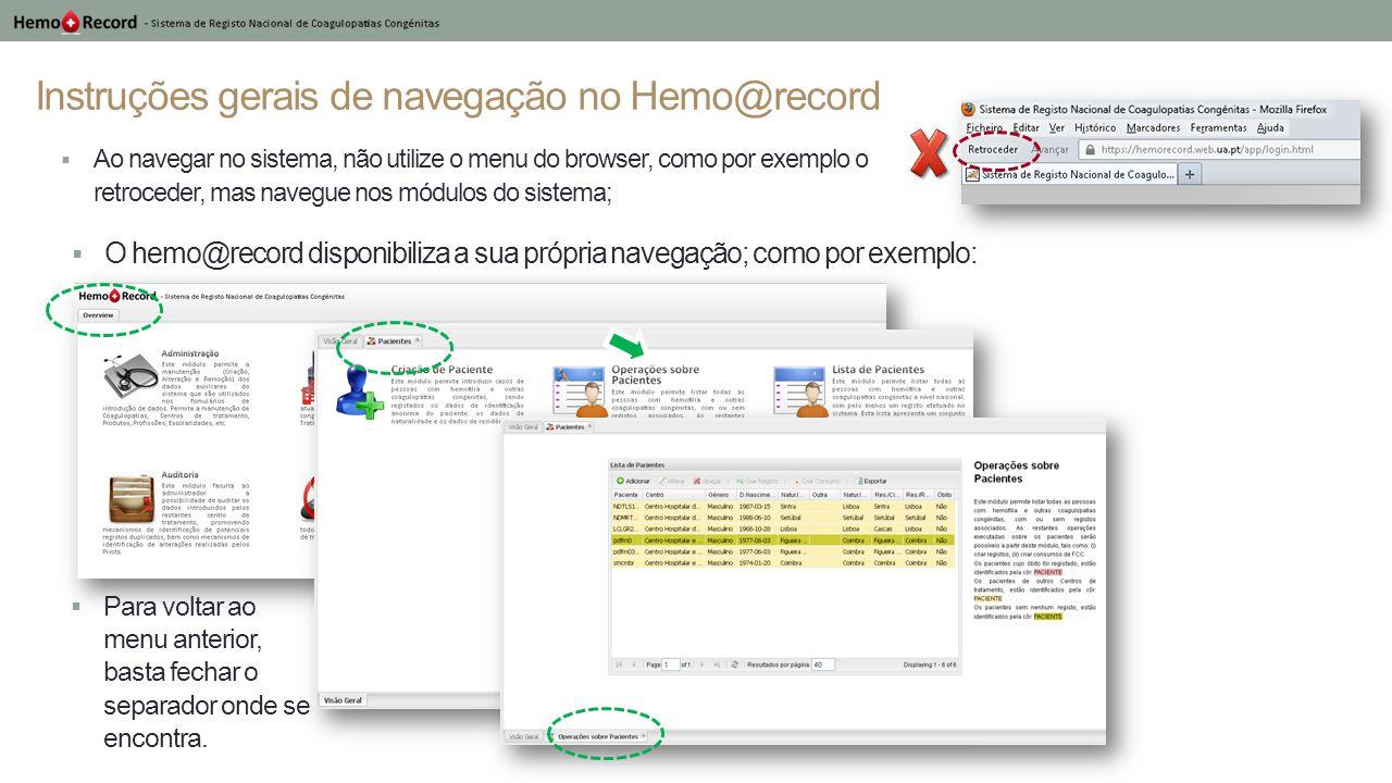 Instruções gerais de navegação no Hemo@record