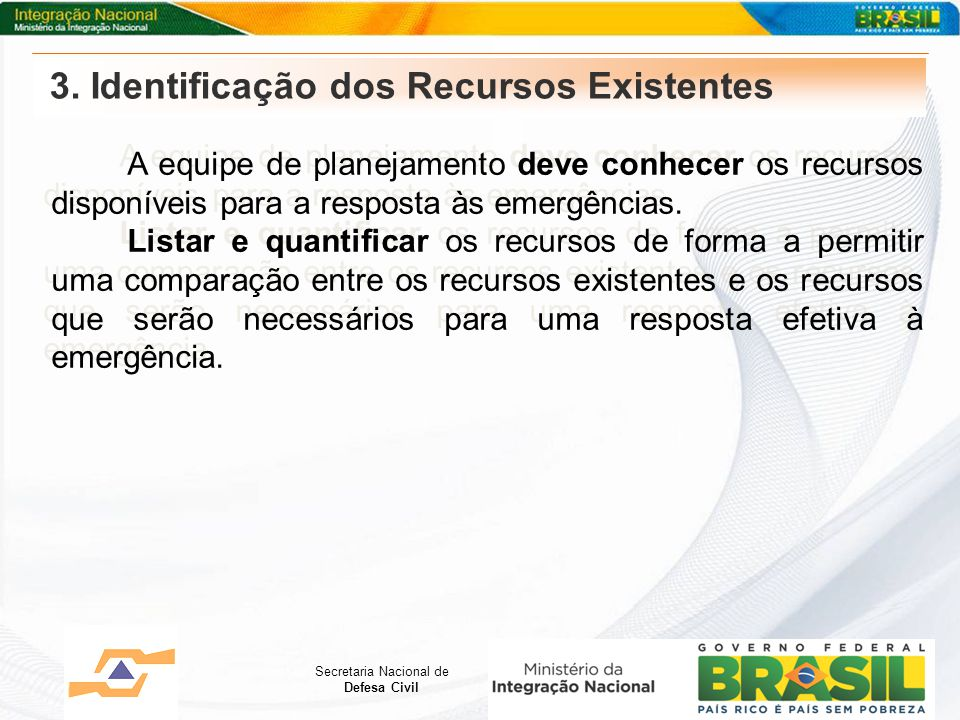 3. Identificação dos Recursos Existentes