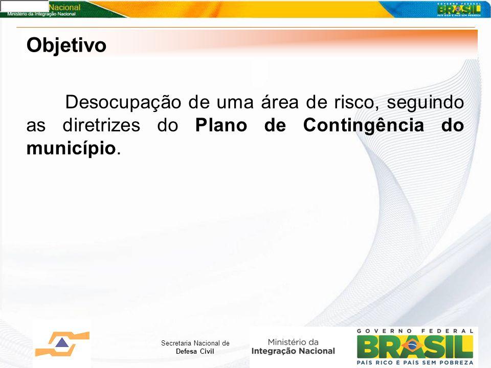 Objetivo Desocupação de uma área de risco, seguindo as diretrizes do Plano de Contingência do município.