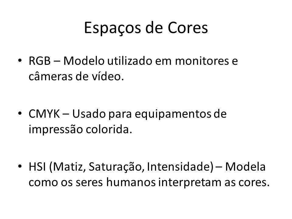 Espaços de Cores RGB – Modelo utilizado em monitores e câmeras de vídeo. CMYK – Usado para equipamentos de impressão colorida.
