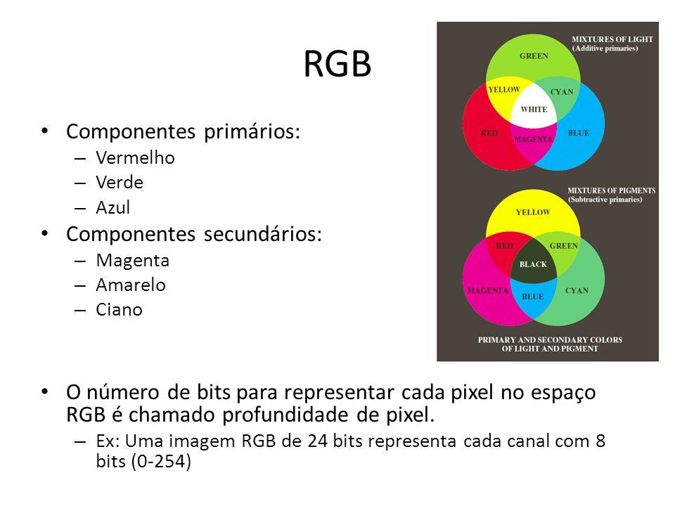 RGB Componentes primários: Componentes secundários: