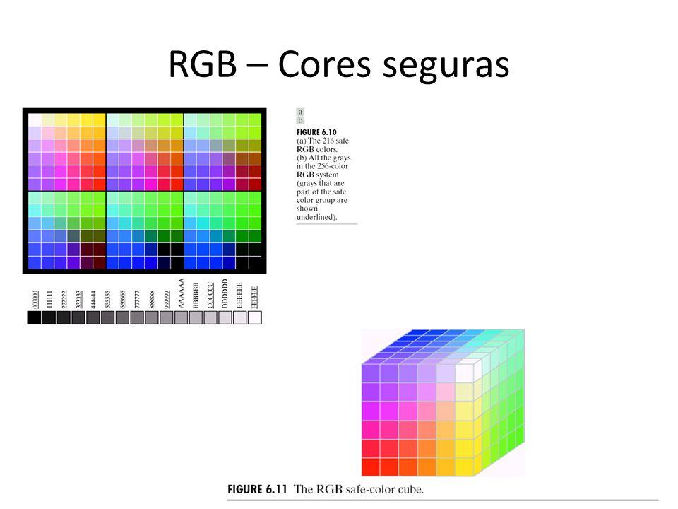 RGB – Cores seguras Cores seguras são cores que serão exibidas com fidelidade por qualquer dispositivo de exibição RGB.