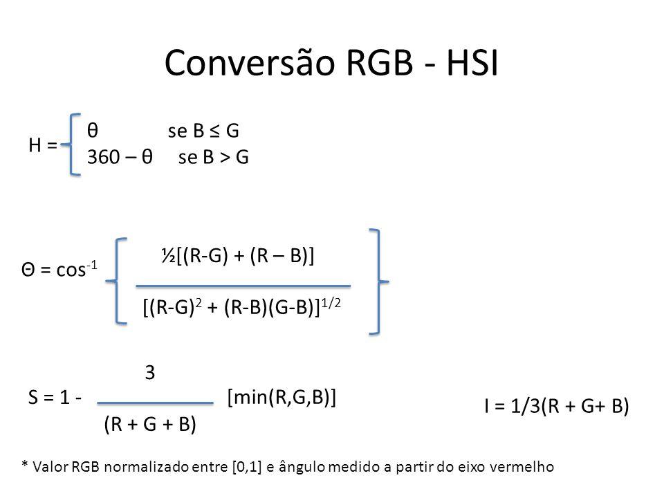 Conversão RGB - HSI H = θ se B ≤ G 360 – θ se B > G Θ = cos-1