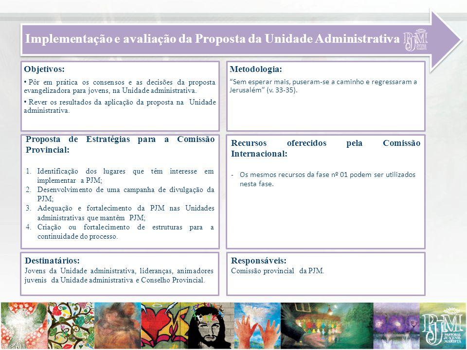 Implementação e avaliação da Proposta da Unidade Administrativa