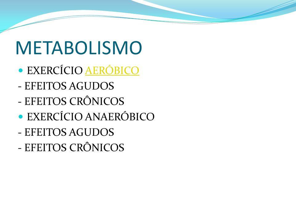 METABOLISMO EXERCÍCIO AERÓBICO - EFEITOS AGUDOS - EFEITOS CRÔNICOS