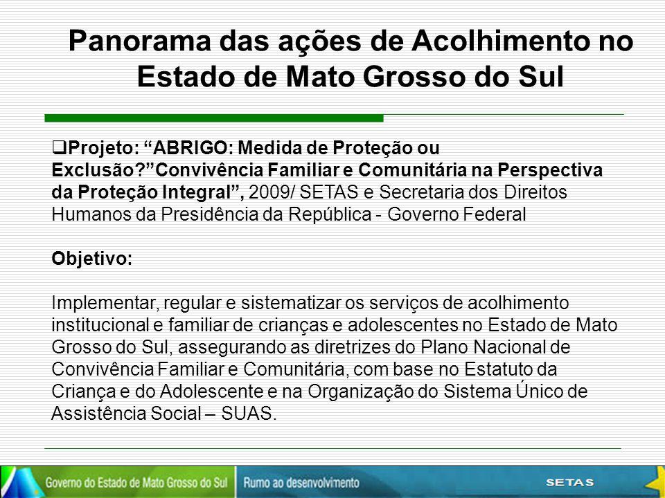 Panorama das ações de Acolhimento no Estado de Mato Grosso do Sul