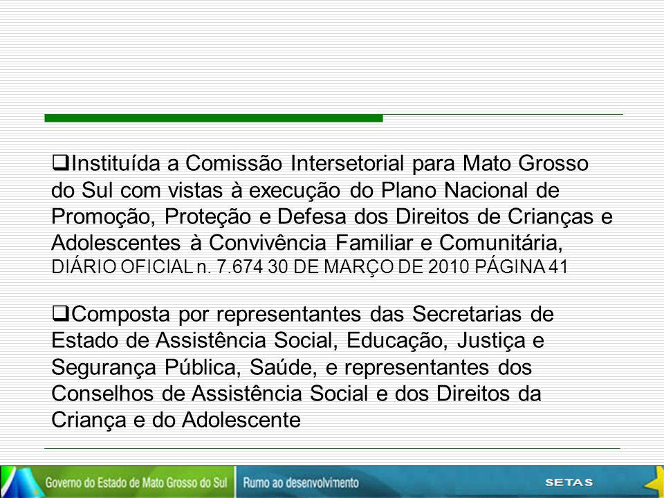 Instituída a Comissão Intersetorial para Mato Grosso do Sul com vistas à execução do Plano Nacional de Promoção, Proteção e Defesa dos Direitos de Crianças e Adolescentes à Convivência Familiar e Comunitária, DIÁRIO OFICIAL n. 7.674 30 DE MARÇO DE 2010 PÁGINA 41