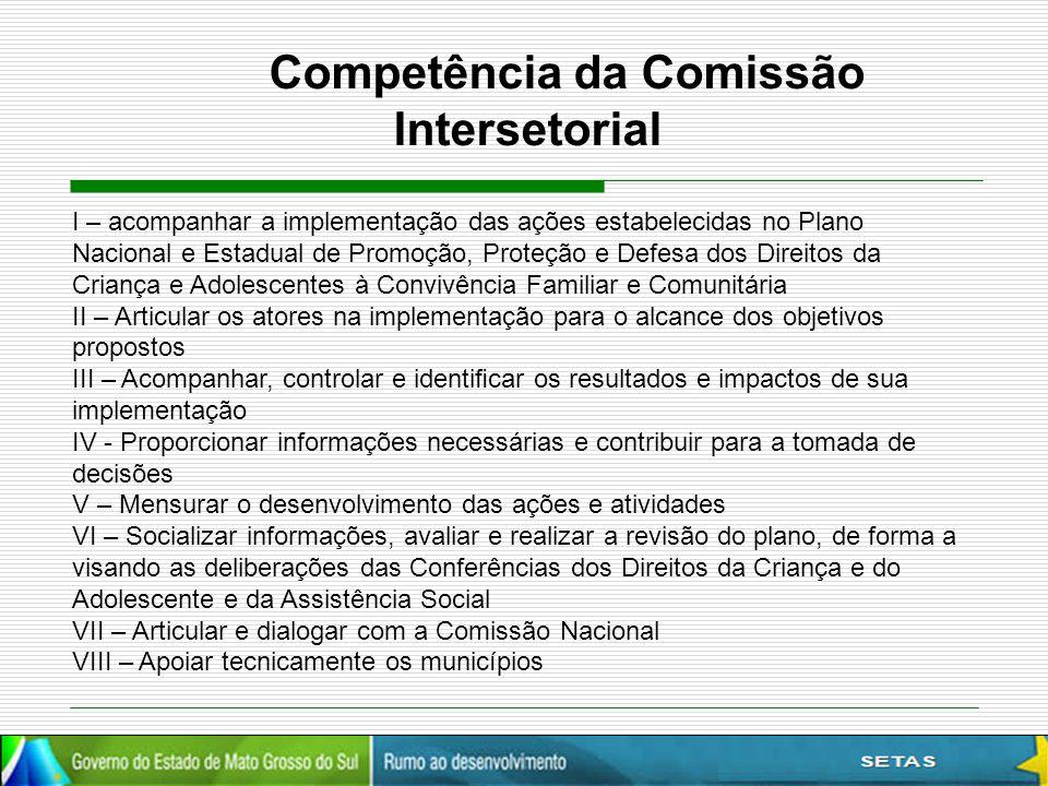 Competência da Comissão Intersetorial