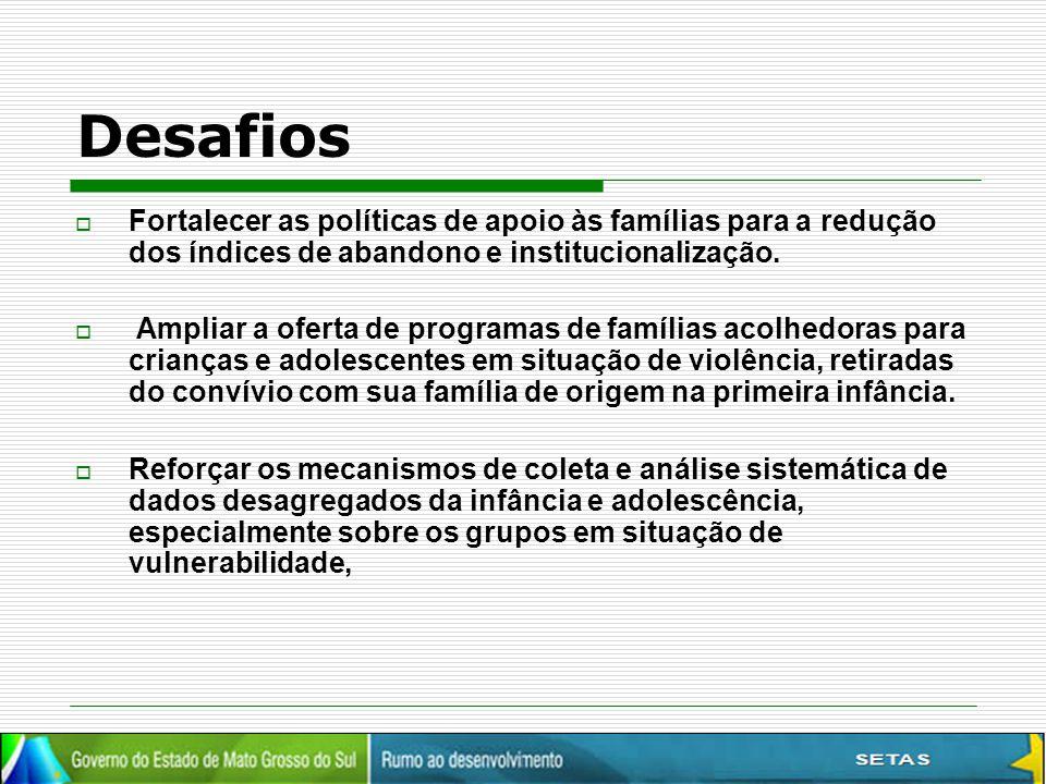 Desafios Fortalecer as políticas de apoio às famílias para a redução dos índices de abandono e institucionalização.