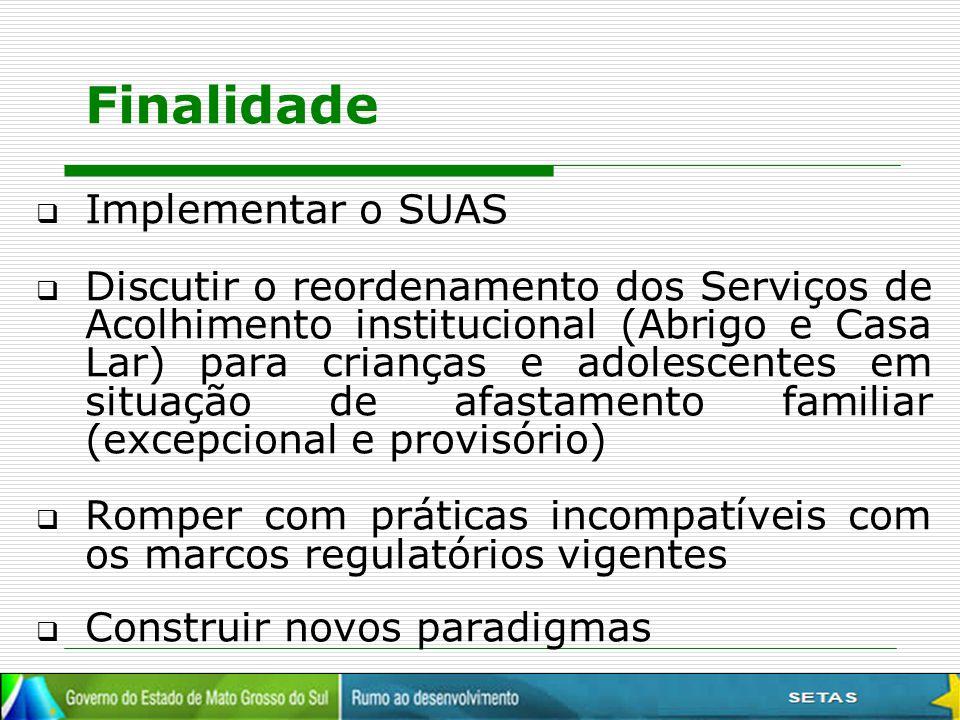Finalidade Implementar o SUAS
