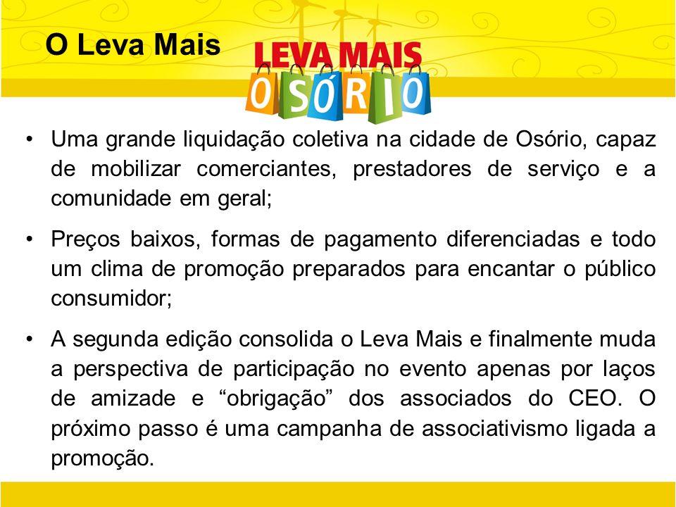 O Leva Mais Uma grande liquidação coletiva na cidade de Osório, capaz de mobilizar comerciantes, prestadores de serviço e a comunidade em geral;