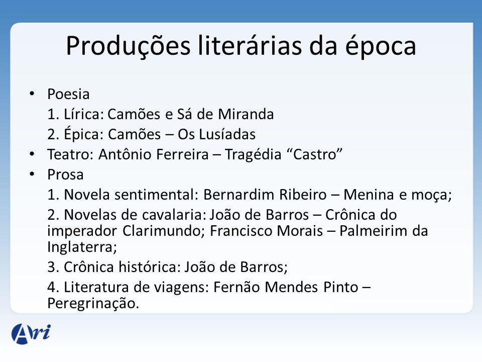 Produções literárias da época