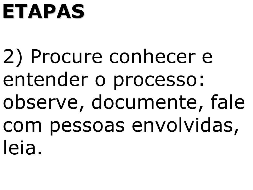 ETAPAS 2) Procure conhecer e entender o processo: observe, documente, fale com pessoas envolvidas, leia.