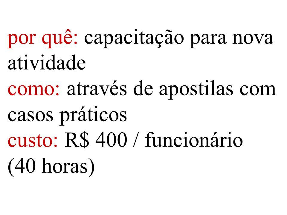 por quê: capacitação para nova atividade como: através de apostilas com casos práticos custo: R$ 400 / funcionário (40 horas)