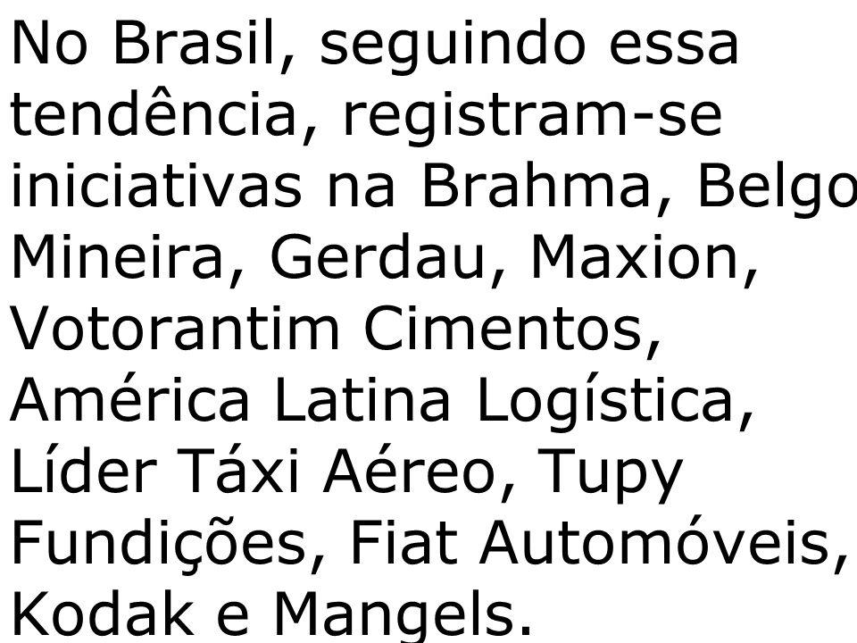 No Brasil, seguindo essa tendência, registram-se iniciativas na Brahma, Belgo Mineira, Gerdau, Maxion, Votorantim Cimentos, América Latina Logística, Líder Táxi Aéreo, Tupy Fundições, Fiat Automóveis, Kodak e Mangels.
