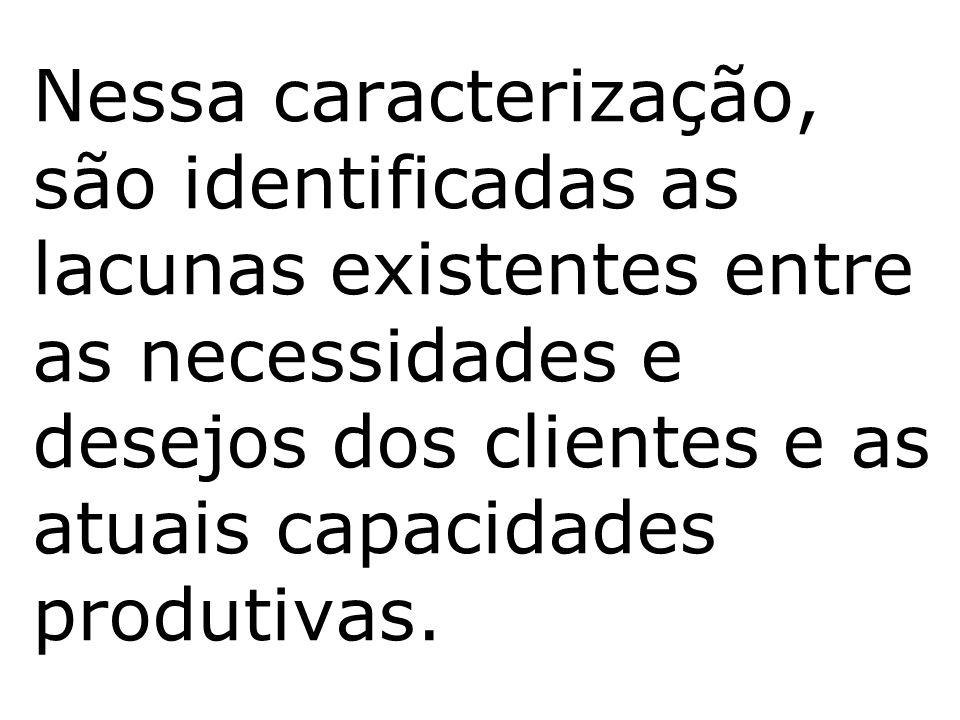 Nessa caracterização, são identificadas as lacunas existentes entre as necessidades e desejos dos clientes e as atuais capacidades produtivas.