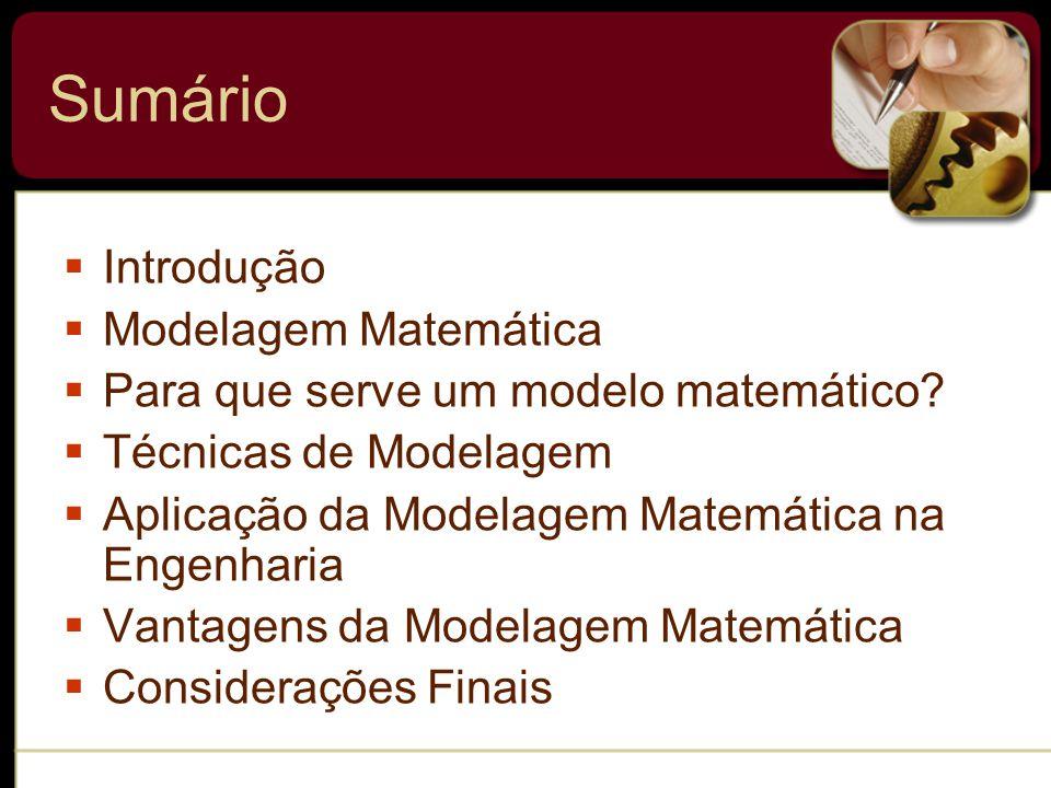 Sumário Introdução Modelagem Matemática