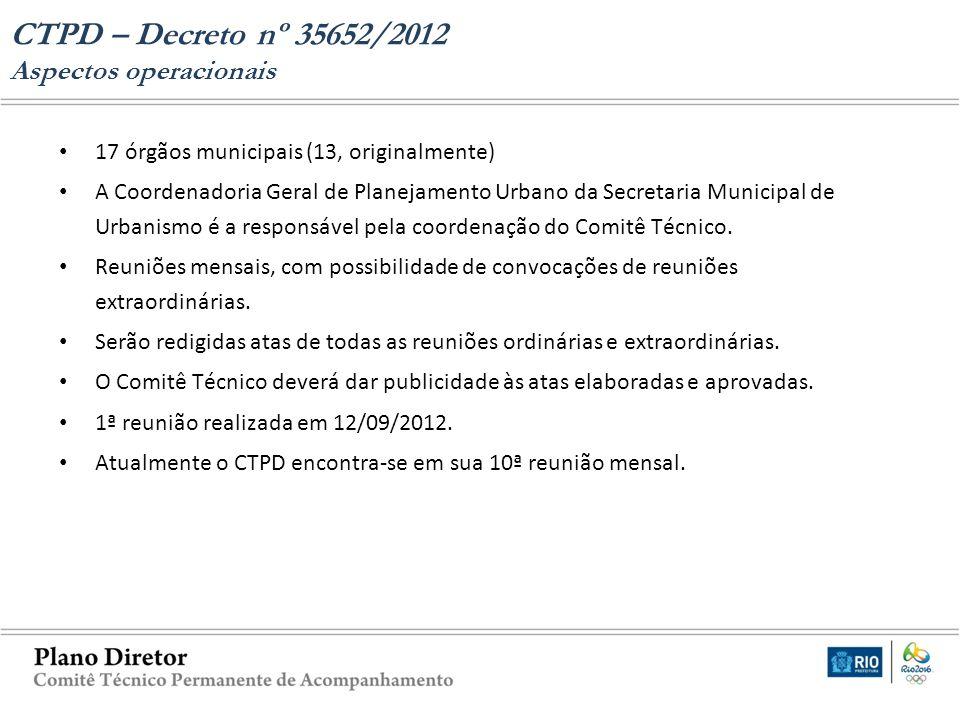 CTPD – Decreto nº 35652/2012 Aspectos operacionais