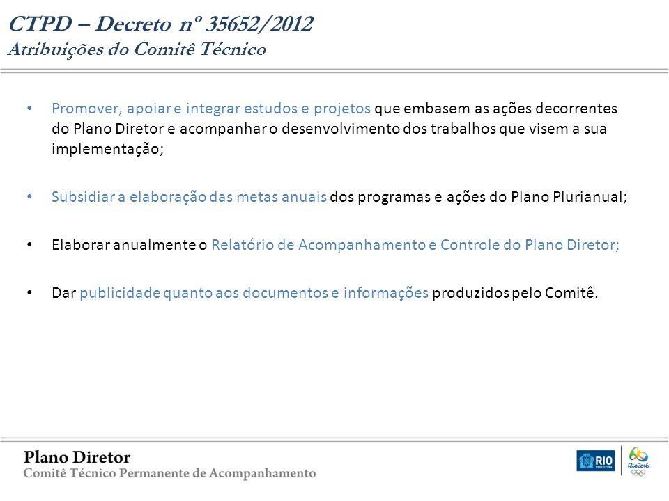 CTPD – Decreto nº 35652/2012 Atribuições do Comitê Técnico