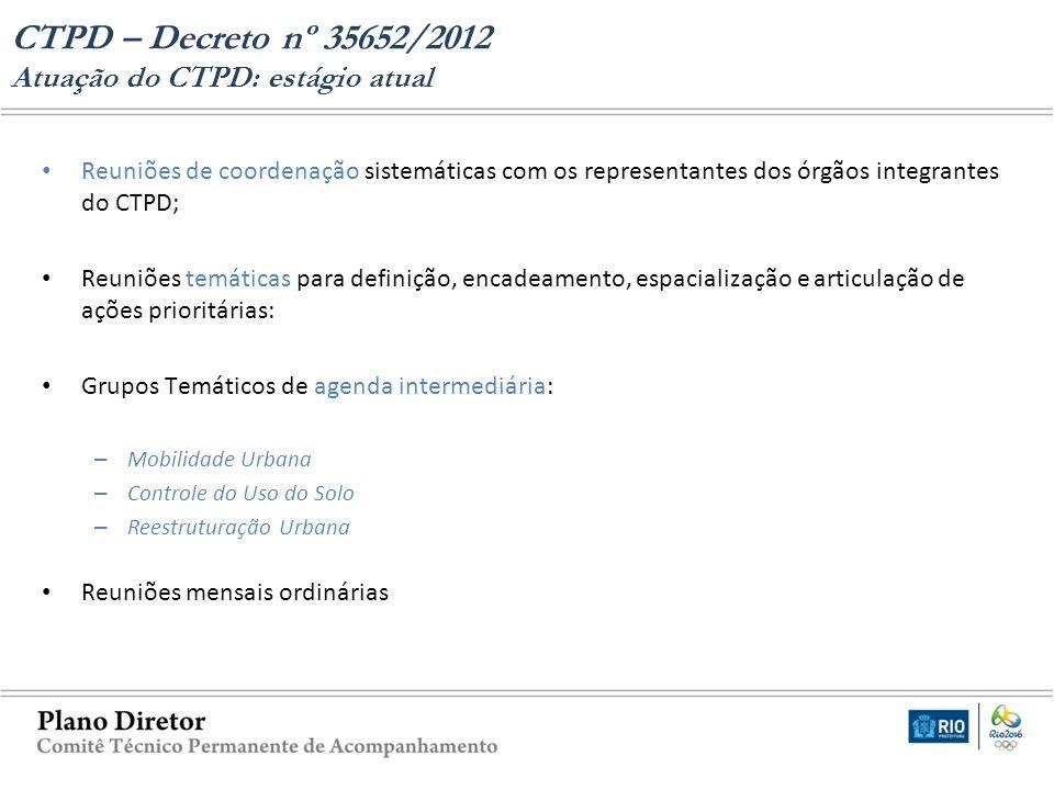 CTPD – Decreto nº 35652/2012 Atuação do CTPD: estágio atual