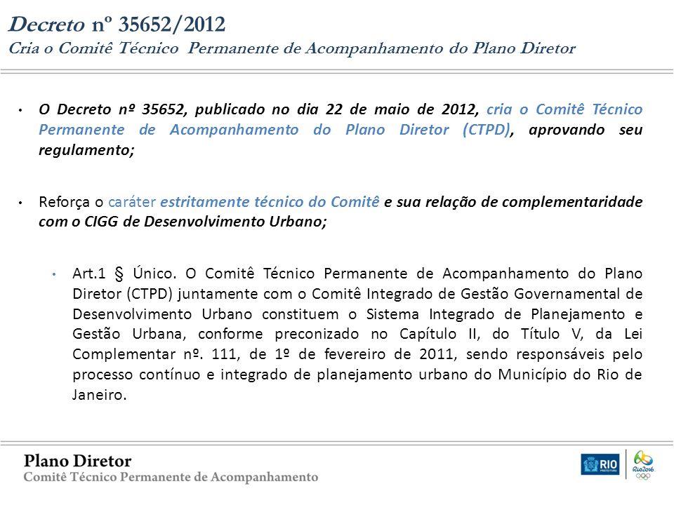 Decreto nº 35652/2012 Cria o Comitê Técnico Permanente de Acompanhamento do Plano Diretor