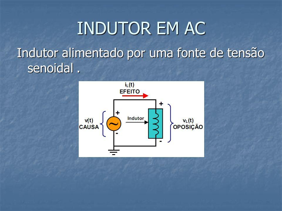 INDUTOR EM AC Indutor alimentado por uma fonte de tensão senoidal .