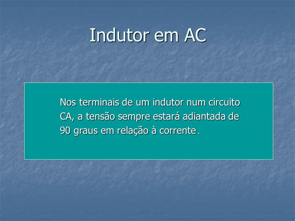 Indutor em AC Nos terminais de um indutor num circuito