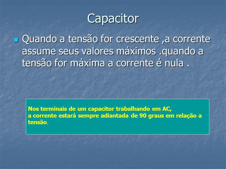 Capacitor Quando a tensão for crescente ,a corrente assume seus valores máximos .quando a tensão for máxima a corrente é nula .