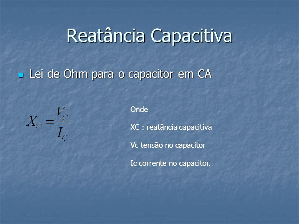Reatância Capacitiva Lei de Ohm para o capacitor em CA Onde