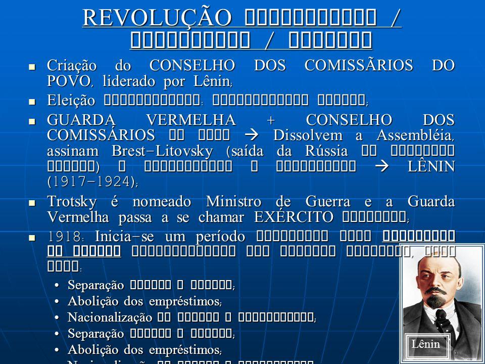 REVOLUÇÃO BOLCHEVIQUE / SOCIALISTA / OUTUBRO