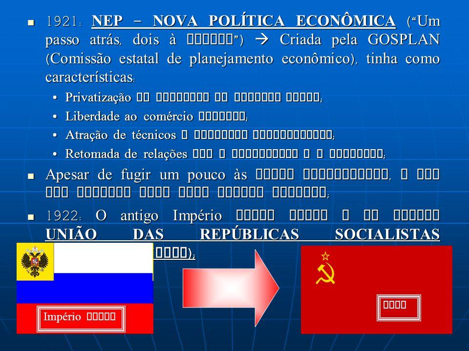 1921: NEP – NOVA POLÍTICA ECONÔMICA ( Um passo atrás, dois à frente )  Criada pela GOSPLAN (Comissão estatal de planejamento econômico), tinha como características:
