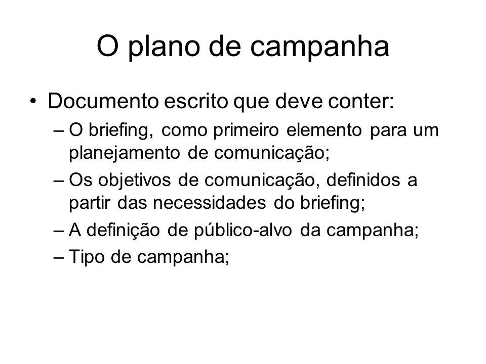 O plano de campanha Documento escrito que deve conter:
