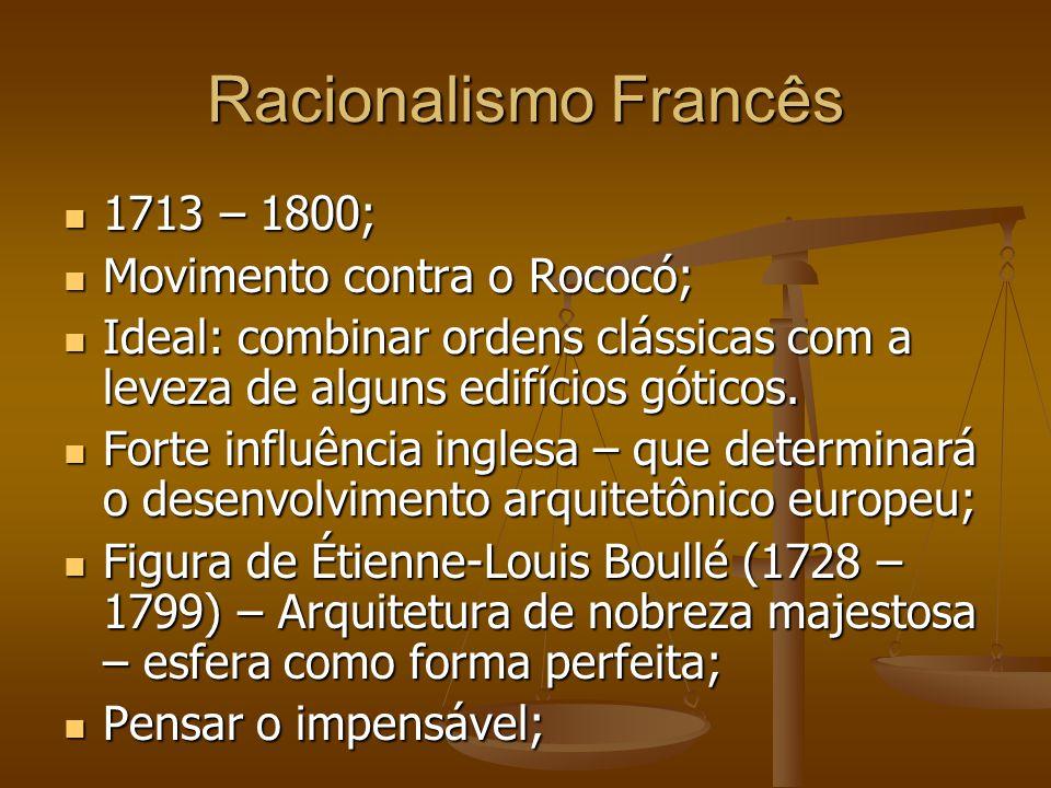 Racionalismo Francês 1713 – 1800; Movimento contra o Rococó;