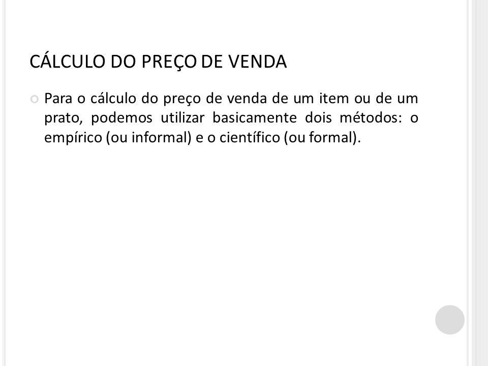 CÁLCULO DO PREÇO DE VENDA