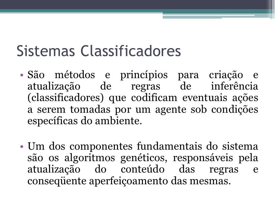 Sistemas Classificadores