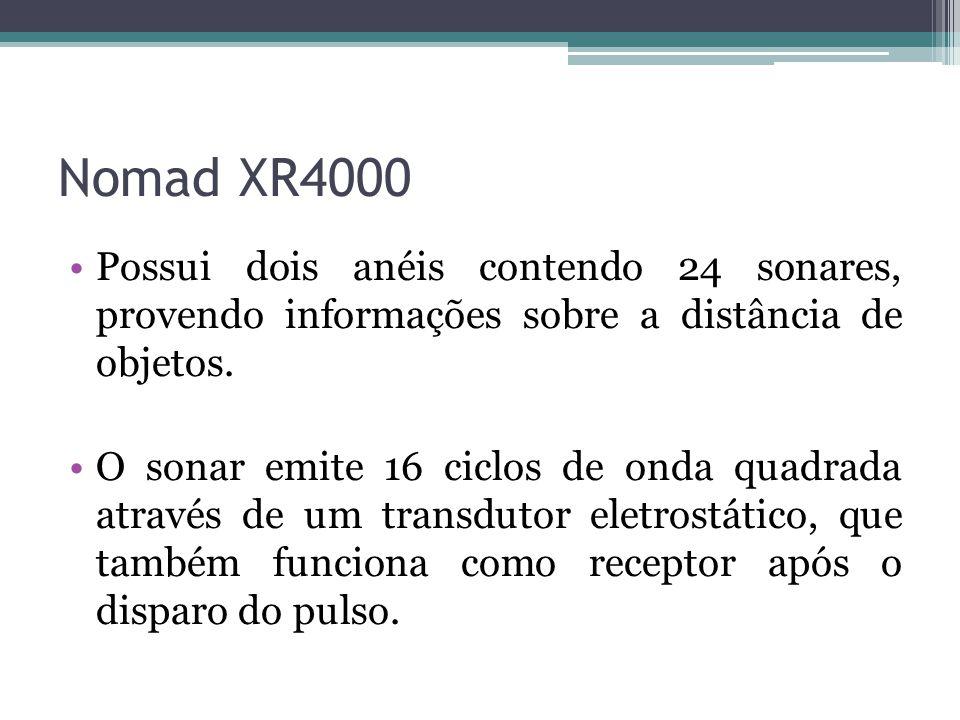 Nomad XR4000 Possui dois anéis contendo 24 sonares, provendo informações sobre a distância de objetos.