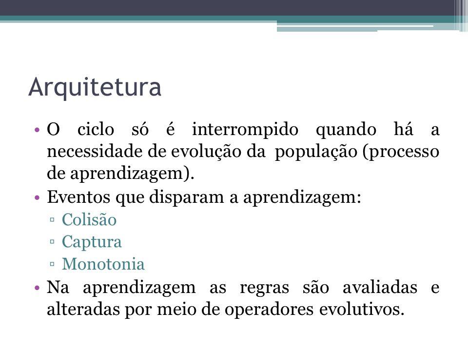 Arquitetura O ciclo só é interrompido quando há a necessidade de evolução da população (processo de aprendizagem).