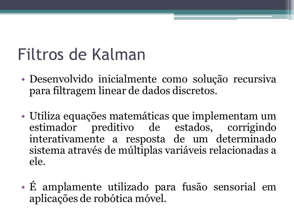 Filtros de Kalman Desenvolvido inicialmente como solução recursiva para filtragem linear de dados discretos.