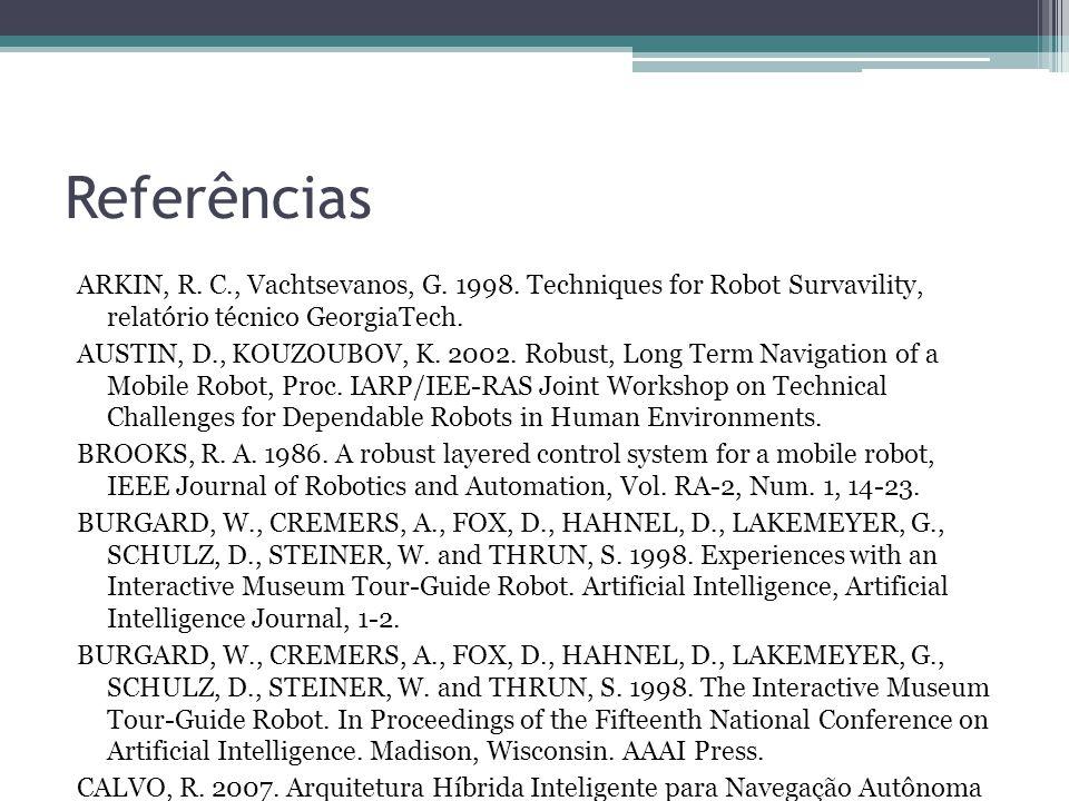 Referências ARKIN, R. C., Vachtsevanos, G. 1998. Techniques for Robot Survavility, relatório técnico GeorgiaTech.