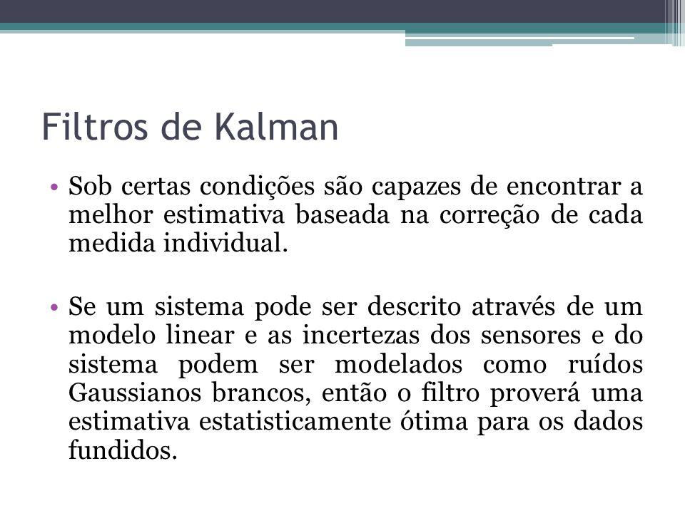 Filtros de Kalman Sob certas condições são capazes de encontrar a melhor estimativa baseada na correção de cada medida individual.