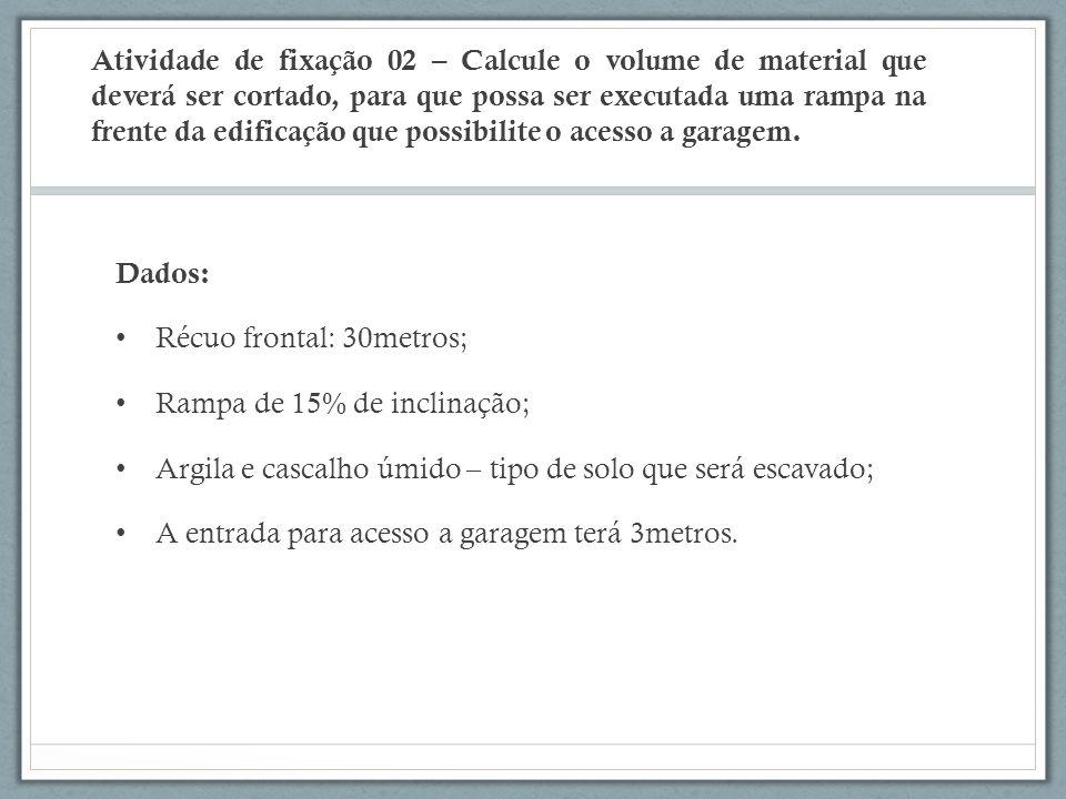 Atividade de fixação 02 – Calcule o volume de material que deverá ser cortado, para que possa ser executada uma rampa na frente da edificação que possibilite o acesso a garagem.