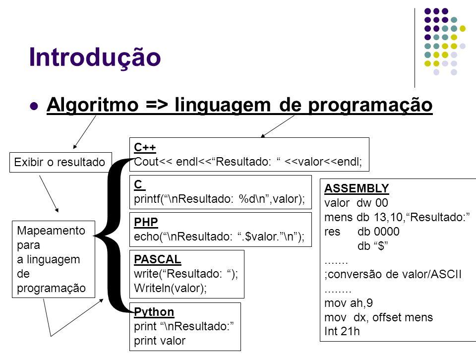 { Introdução Algoritmo => linguagem de programação C++